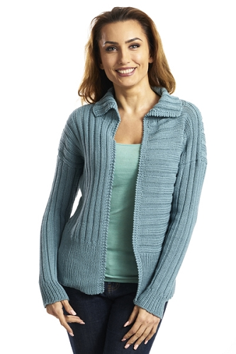 #5600J Multi Directional Ribbed Cardigan