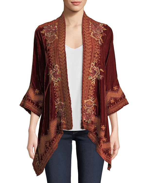 Johnny Was Elim Velvet Draped Cardigan
